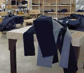 The Downeast Correctional Facility has a small garment shop operation which employs  ten (10) inmates. They produce all the jeans and jean jackets worn by our prison population. Jean kits are purchased from the Oregon Department of Corrections and stitched at Bucks Harbor.